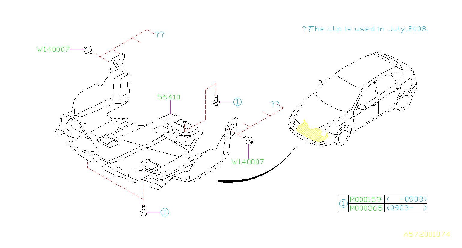 2008 Subaru Impreza Under cover-front. Exhaust, body ...